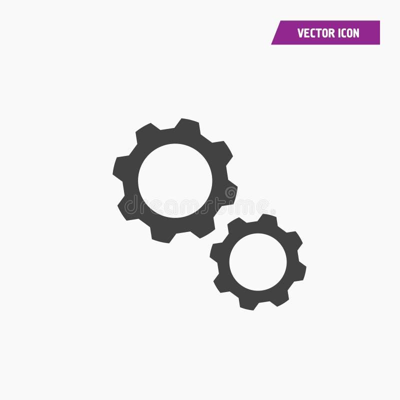 Ícone preto de dois ajustes da engrenagem da roda denteada ilustração do vetor