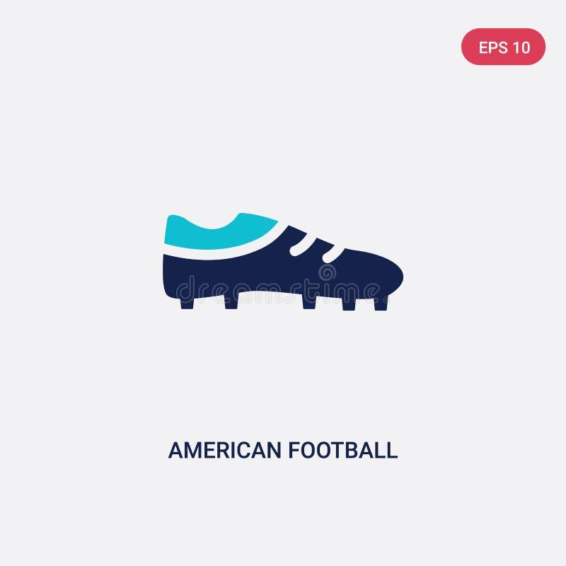 Ícone preto de duas cores do vetor da sapata do futebol americano do conceito do futebol americano sapata preta azul isolada do f ilustração royalty free