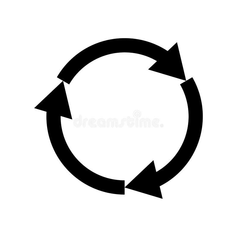Ícone preto de três setas do círculo ilustração royalty free