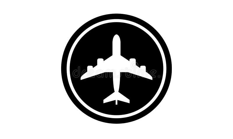 Ícone preto do aeroporto do voo fotos de stock