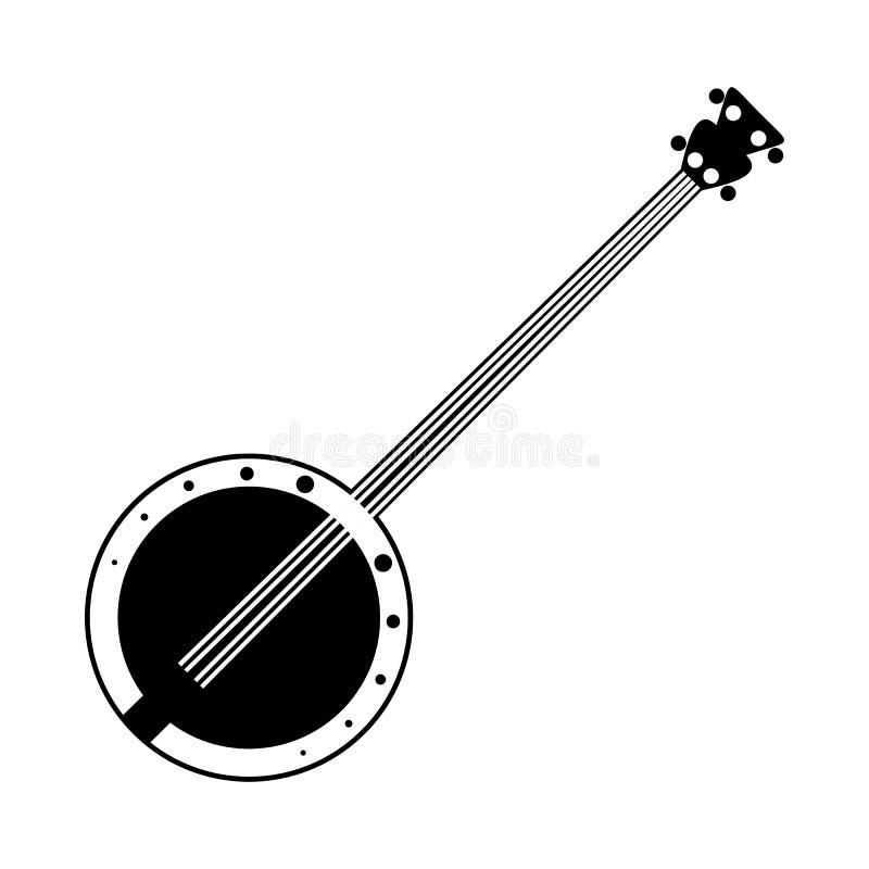 Ícone preto do banjo ilustração do vetor