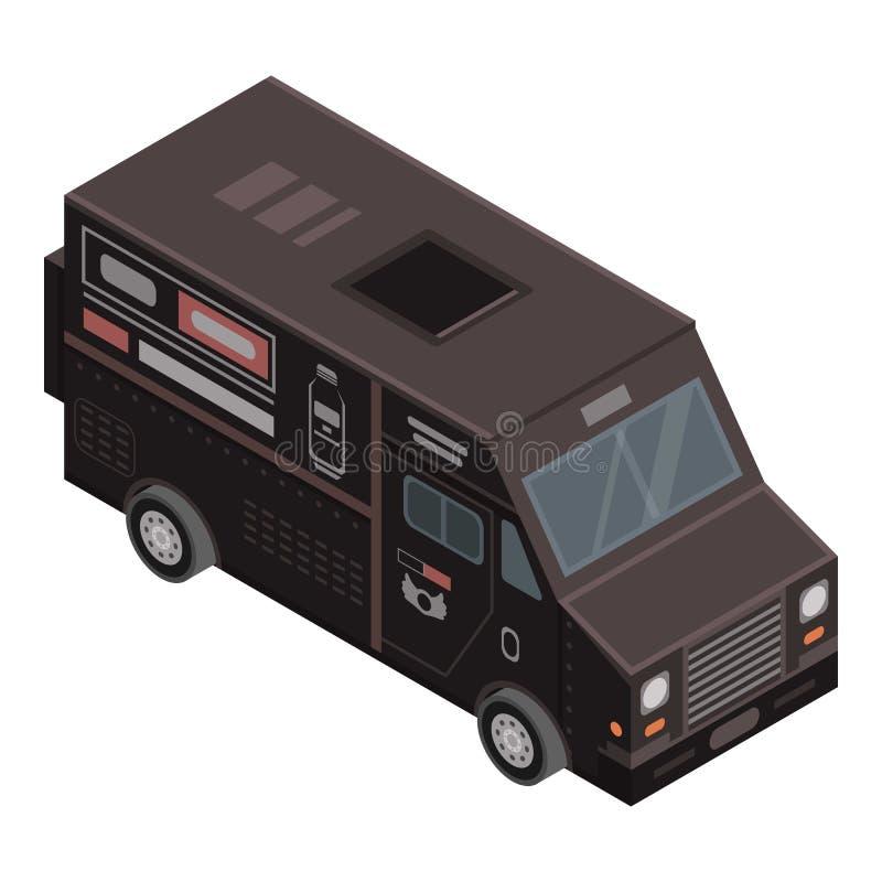 Ícone preto do caminhão da bebida, estilo isométrico ilustração do vetor