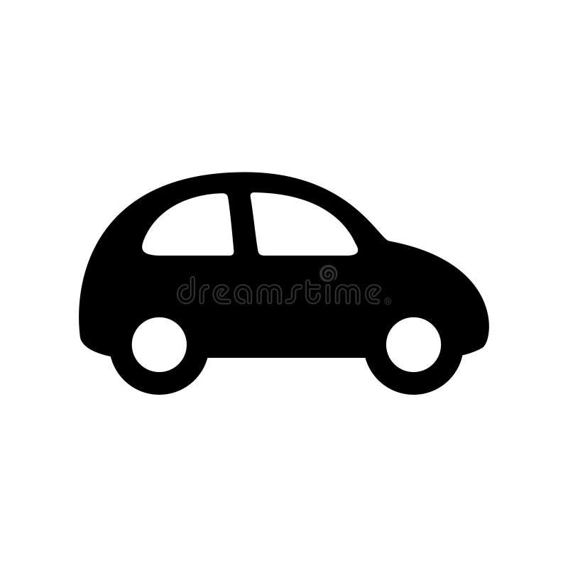 Ícone preto do carro isolado no branco ilustração stock