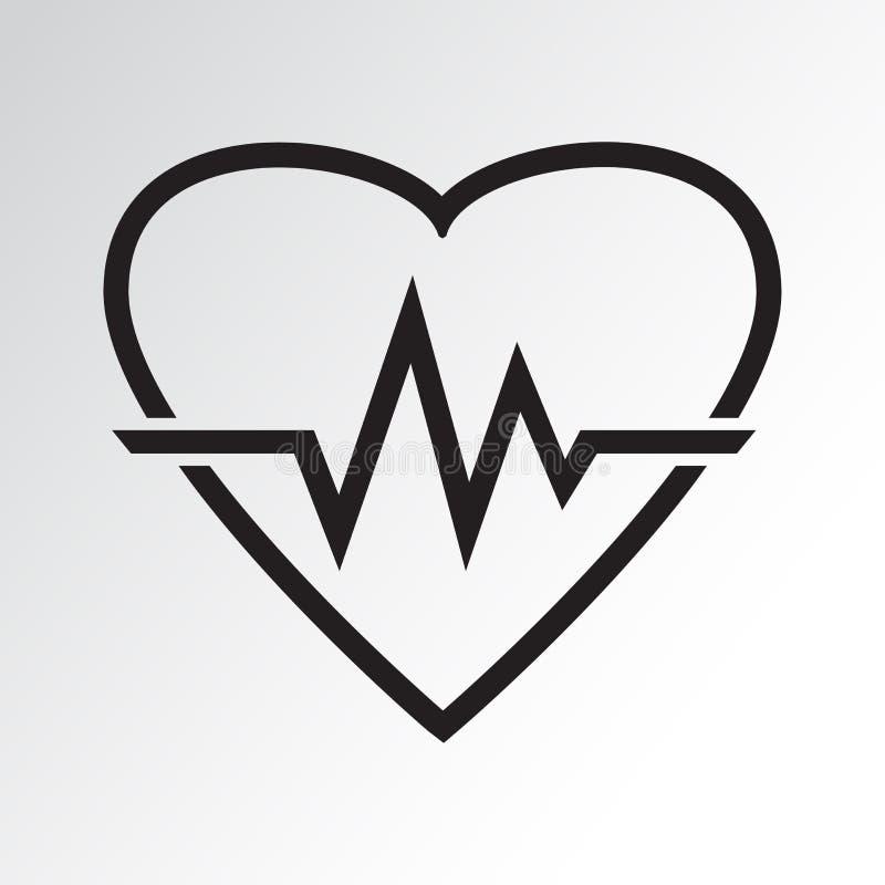 Ícone preto do coração com pulsação do coração do sinal Ilustração do vetor ilustração stock