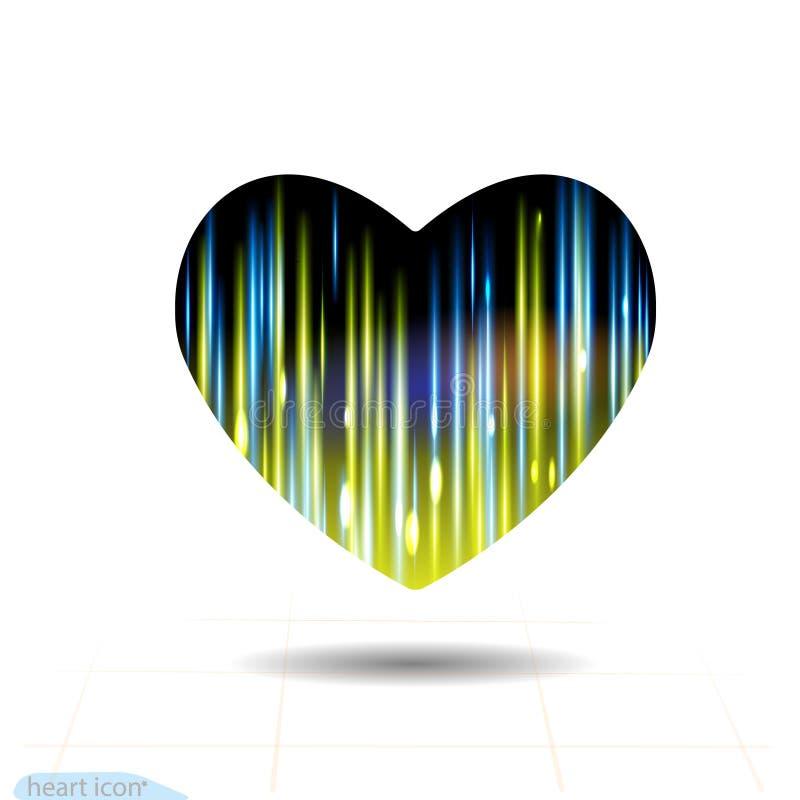 Ícone preto do coração, raio instantâneo da energia O efeito da luz do fulgor stars explosões com os sparkles isolados no fundo p ilustração stock