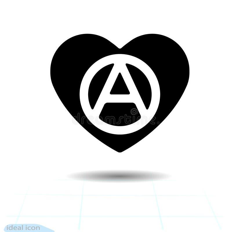 Ícone preto do coração, símbolo do amor A anarquia assina dentro o coração Sinal do dia de Valentim, emblema, estilo liso para o  ilustração stock