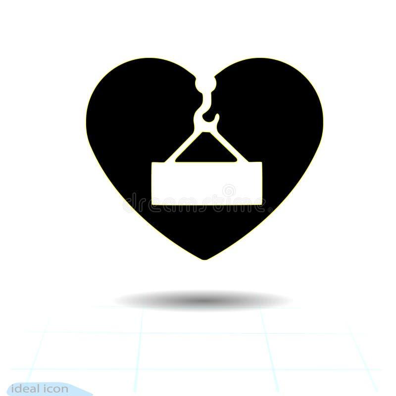 Ícone preto do coração, símbolo do amor A carga aérea do perigo assina dentro o coração Sinal do dia de Valentim, emblema, estilo ilustração royalty free