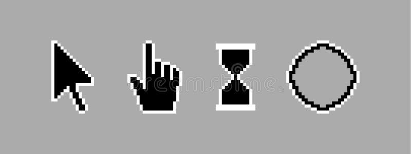 Ícone preto do cursor do pixel do estilo antigo ilustração stock