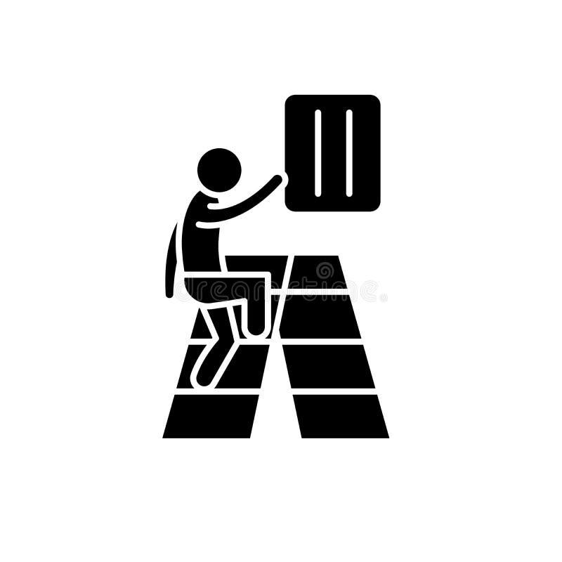 Ícone preto do desenvolvimento gradual, sinal do vetor no fundo isolado Símbolo gradual do conceito do desenvolvimento, ilustraçã ilustração royalty free