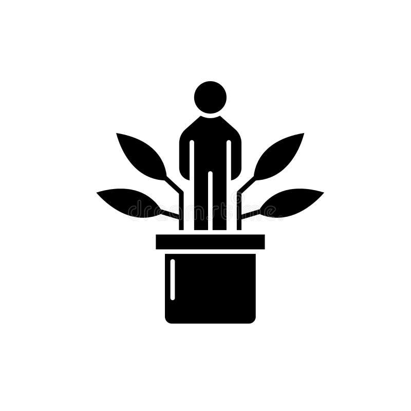 Ícone preto do desenvolvimento pessoal, sinal do vetor no fundo isolado Símbolo pessoal do conceito do desenvolvimento, ilustraçã ilustração royalty free
