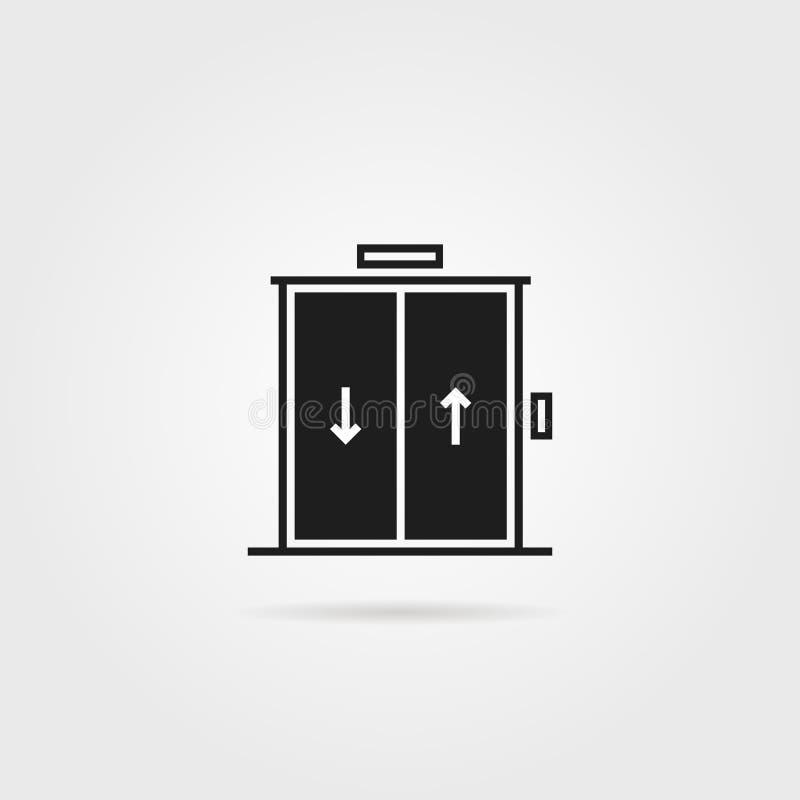 Ícone preto do elevador isolado no branco ilustração royalty free