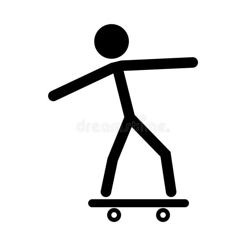 Ícone preto do homem do skate no fundo branco ilustração royalty free