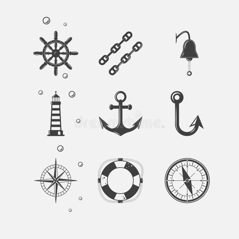 Ícone preto do mar ilustração royalty free