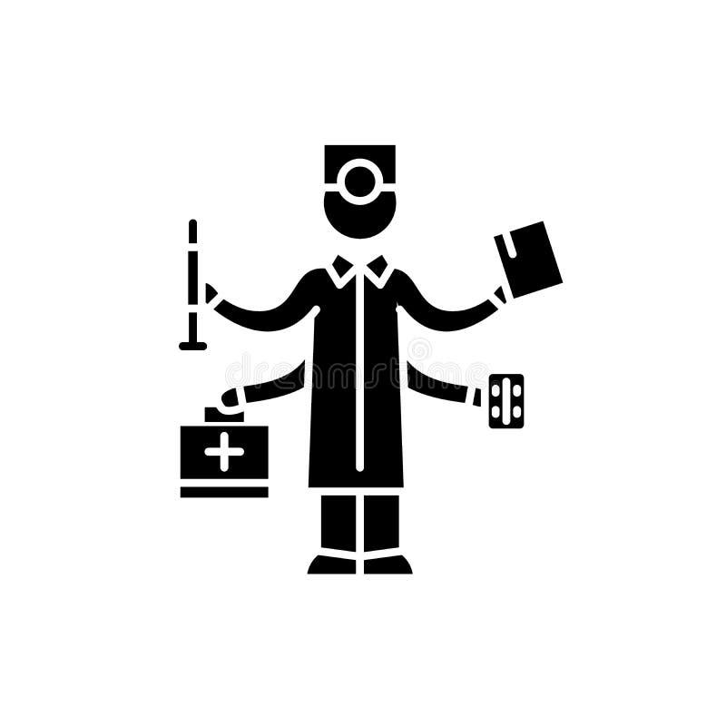 Ícone preto do melhor doutor, sinal do vetor no fundo isolado O melhor símbolo do conceito do doutor, ilustração ilustração stock