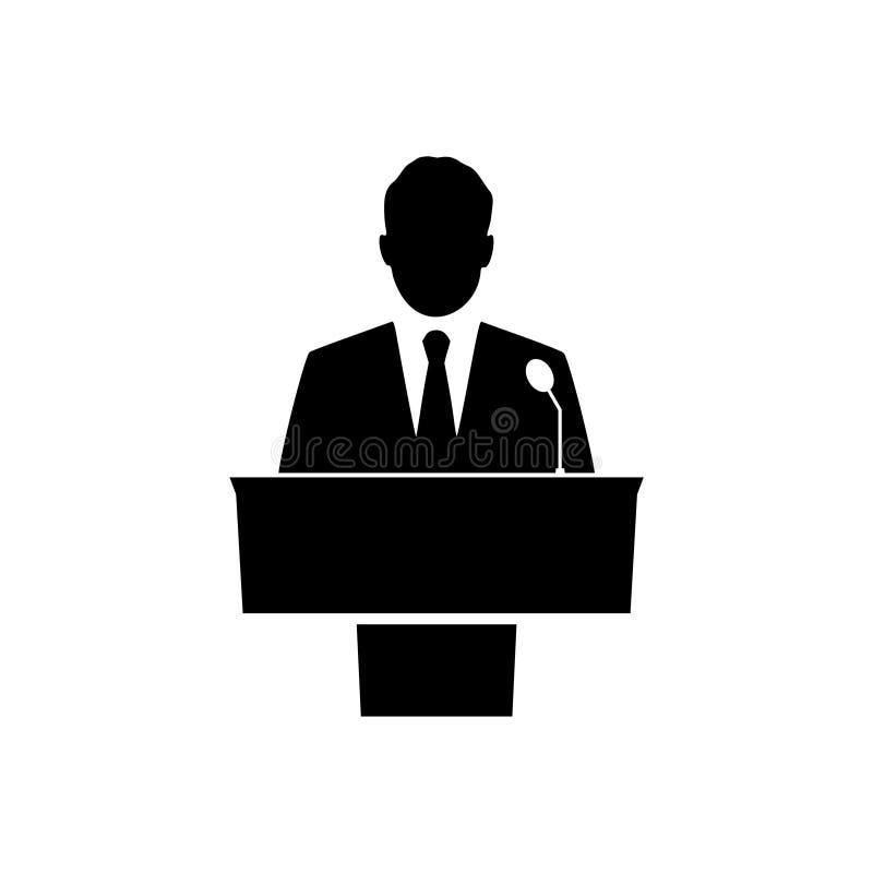 Ícone preto do orador público no fundo branco ilustração royalty free