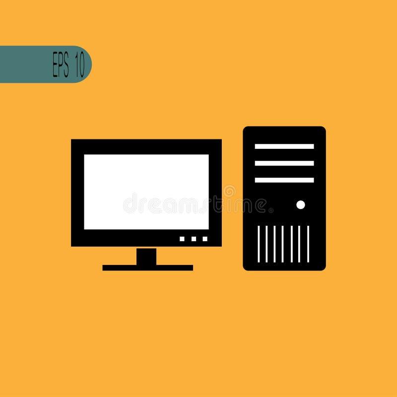 Ícone preto do PC - ilustração do vetor ilustração stock