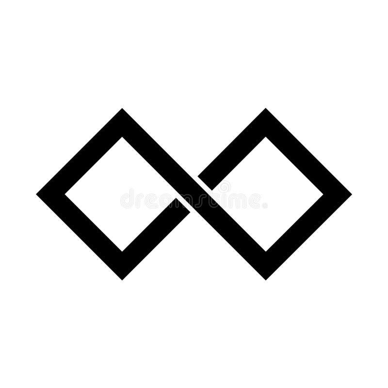 Ícone preto do símbolo da infinidade Forma retangular com bordas afiadas Elemento liso simples do projeto do vetor ilustração do vetor