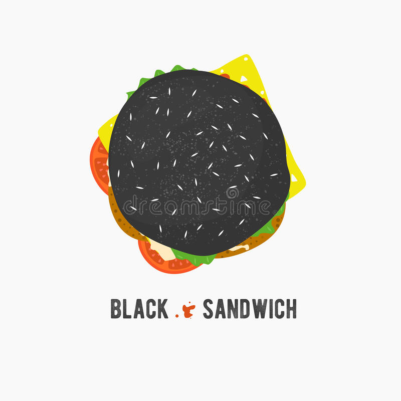 Ícone preto do sanduíche do vetor Hamburger fresco com alface, queijo e tomates Ilustração do logotipo do hamburguer Alimento da  ilustração royalty free