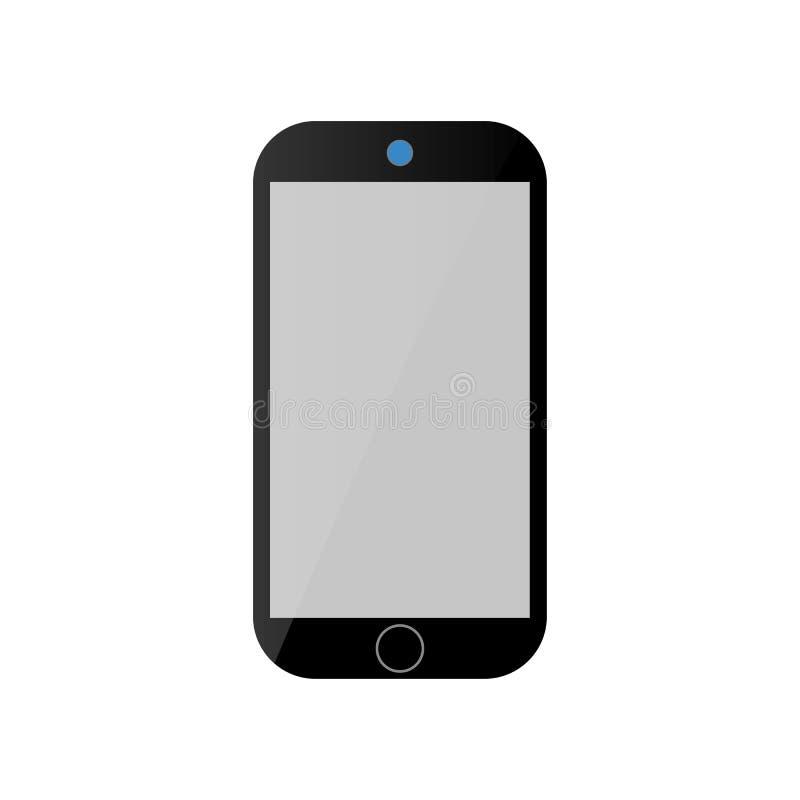 Ícone preto do smartphone com a tela cinzenta lustrosa e câmera azul no fundo branco Vetor eps10 do ?cone do telefone celular ilustração do vetor