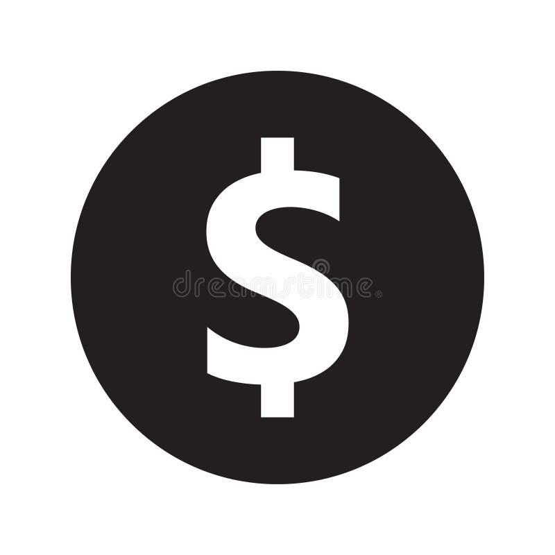 Ícone preto do vetor, símbolo do dinheiro, símbolo do dólar do dinheiro ilustração royalty free