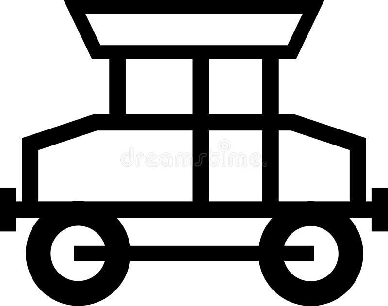 Ícone preto e branco da locomotiva ilustração do vetor