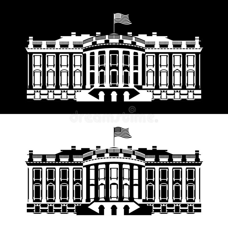 Ícone preto e branco de América da casa branca Residência do presidente ilustração do vetor