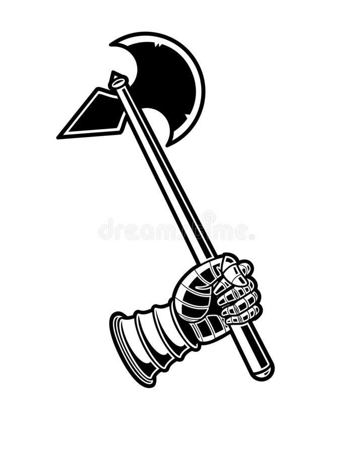 Ícone preto e branco do vetor do machado medieval ilustração royalty free