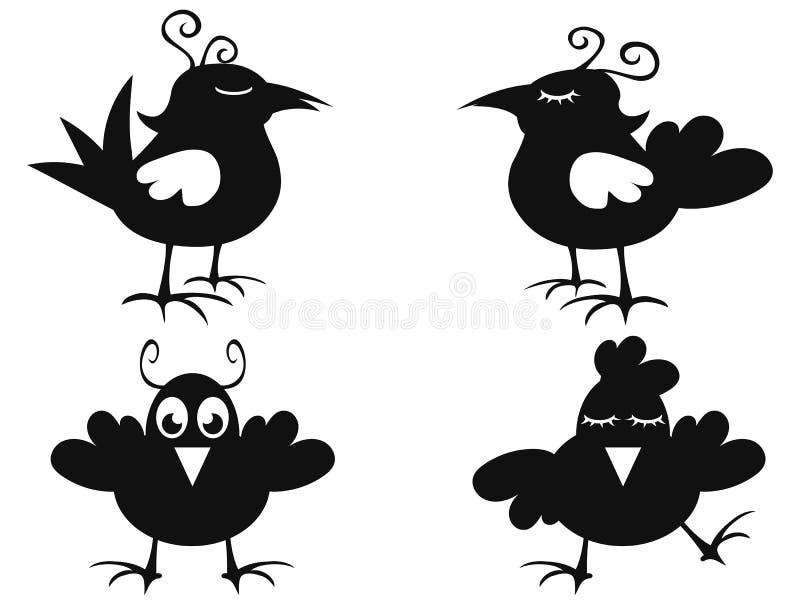 Ícone preto engraçado do pássaro ilustração stock