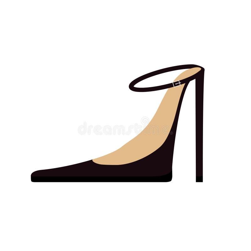 Ícone preto fêmea da forma das sapatas da mulher Estilete alto dos saltos de ponto Correia com curvatura Projeto liso Fundo branc ilustração do vetor