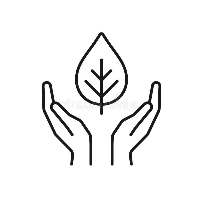 Ícone preto isolado do esboço da planta nas mãos no fundo branco Linha ícone de folha e de mãos Símbolo do cuidado, proteção, ilustração do vetor