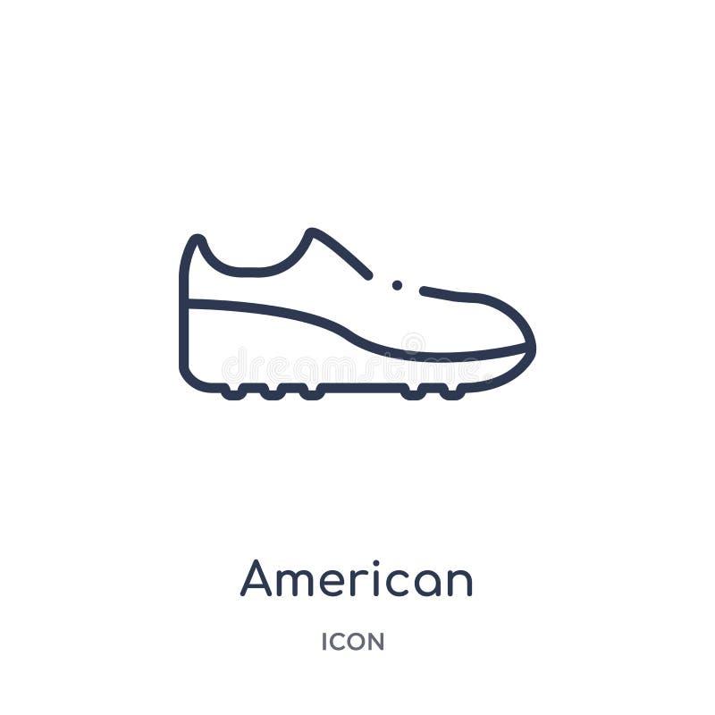 Ícone preto linear da sapata do futebol americano da coleção do esboço do futebol americano Linha fina vetor da sapata do preto d ilustração stock