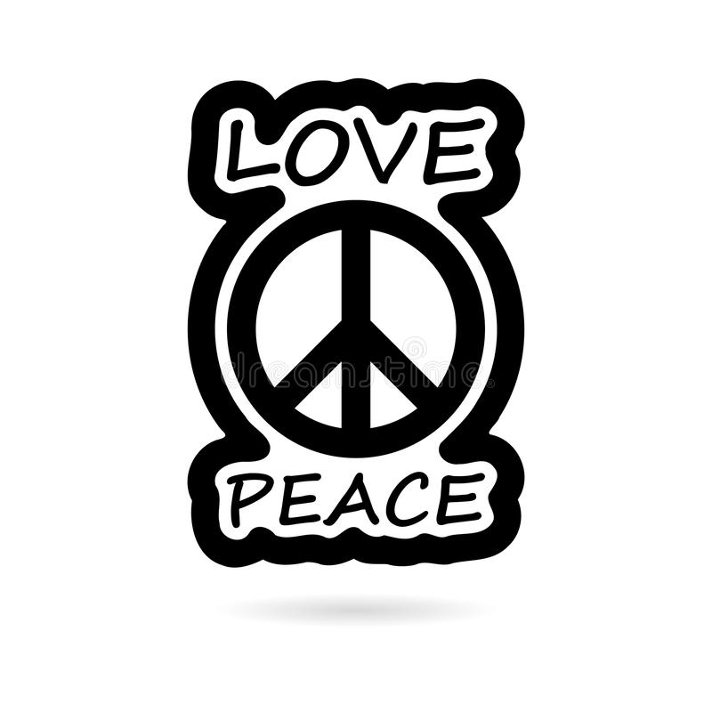 Ícone preto ou logotipo do projeto do estilo da hippie do amor e da paz ilustração do vetor