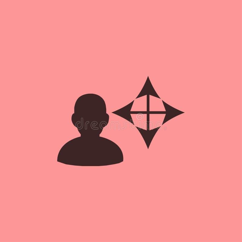 Ícone preto principal do sentido no fundo cor-de-rosa imagem de stock