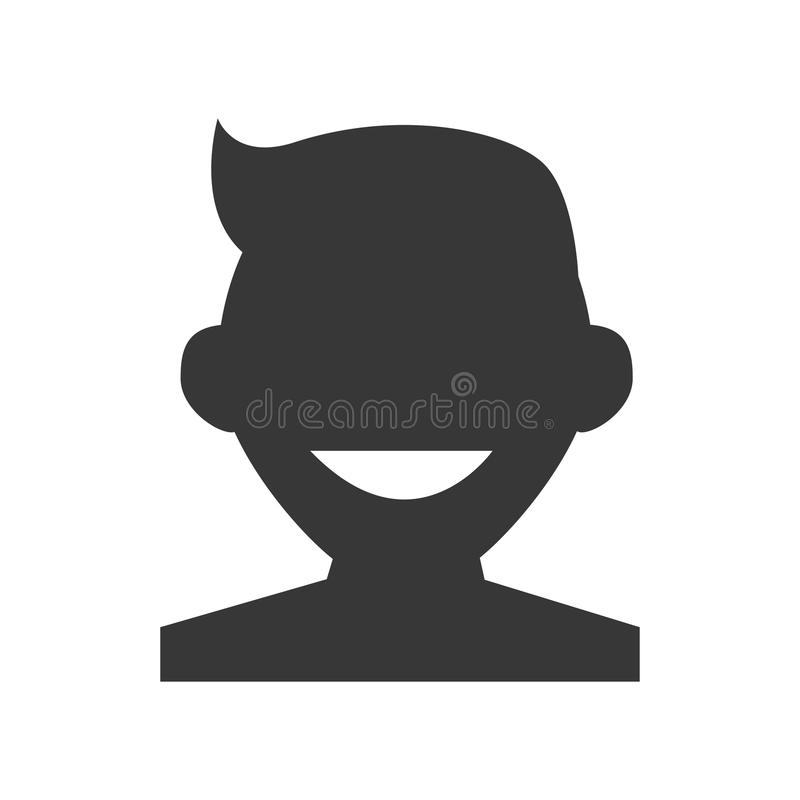 Ícone principal da parte dianteira do menino da silhueta ilustração stock