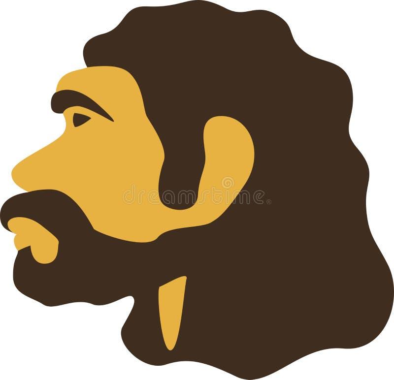 Ícone principal do homem das cavernas simples Neardenthal ou homem pré-histórico da CTOC-magnon ilustração stock