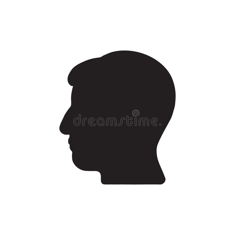 Ícone principal Ícone do perfil silhueta preta do perfil da cabeça humana ilustração royalty free