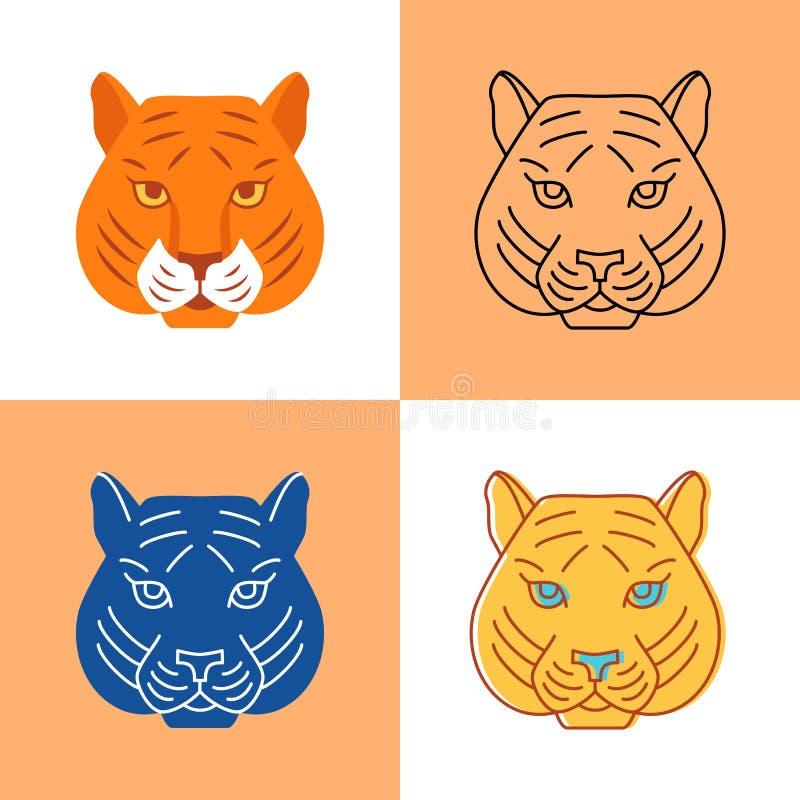 Ícone principal do tigre ajustado no plano e na linha estilos ilustração do vetor