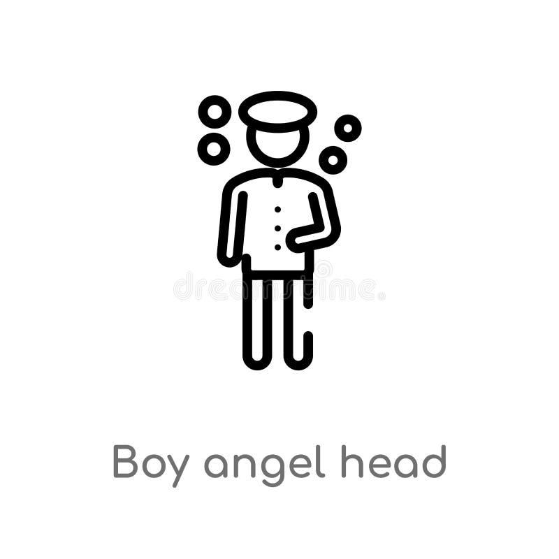 ícone principal do vetor do anjo do menino do esboço linha simples preta isolada ilustração do elemento do conceito dos povos Cur ilustração do vetor