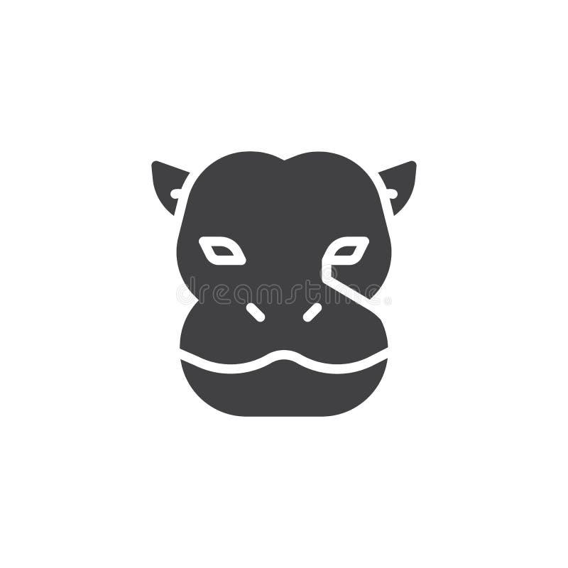 Ícone principal do vetor do hipopótamo ilustração royalty free