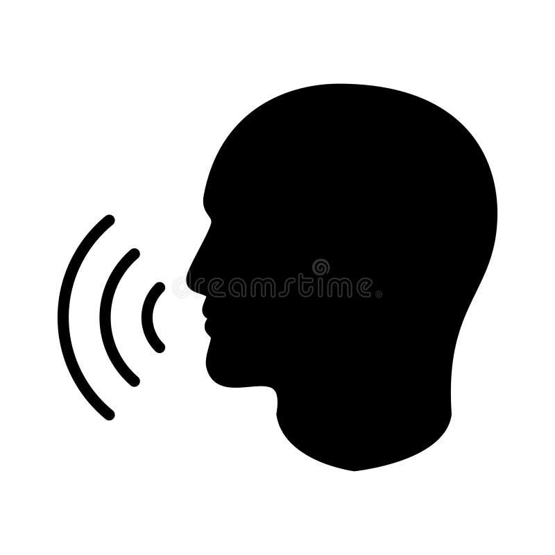 Ícone principal humano da silhueta com ondas da voz ilustração royalty free