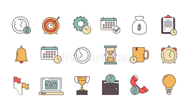 Ícone produtivo da gestão A produtividade do negócio lembra serviços para salvar símbolos lineares do vetor da previsão dos empre ilustração stock
