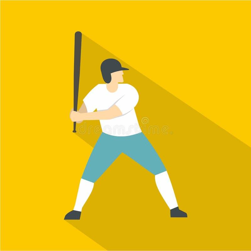 Ícone profissional do jogador de beisebol, estilo liso ilustração do vetor