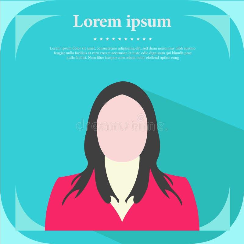 Ícone profissional do perfil, ilustração lisa do vetor do projeto do retrato fêmea, ilustração fêmea do perfil - vetor fotos de stock