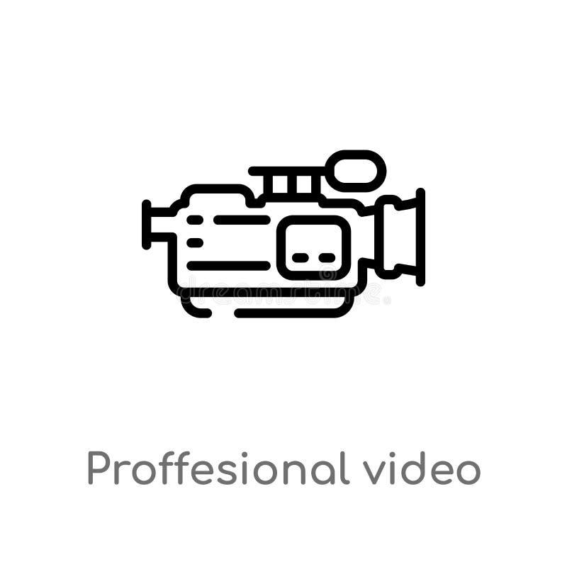 ícone profissional do vetor da câmara de vídeo do esboço linha simples preta isolada ilustração do elemento do conceito do cinema ilustração royalty free