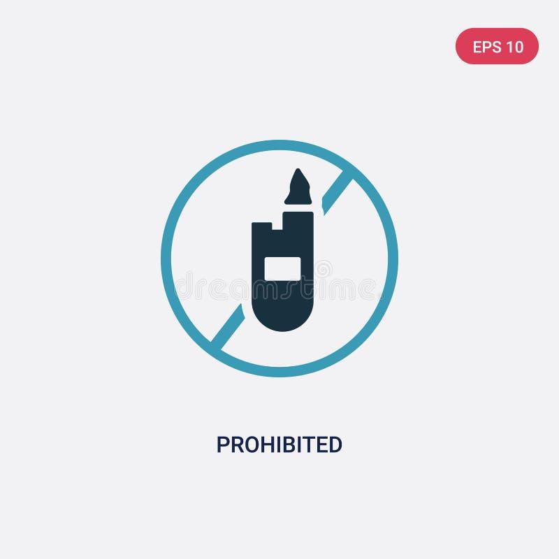 Ícone proibido de duas cores do vetor do conceito dos sinais o símbolo proibido azul isolado do sinal do vetor pode ser uso para  ilustração stock