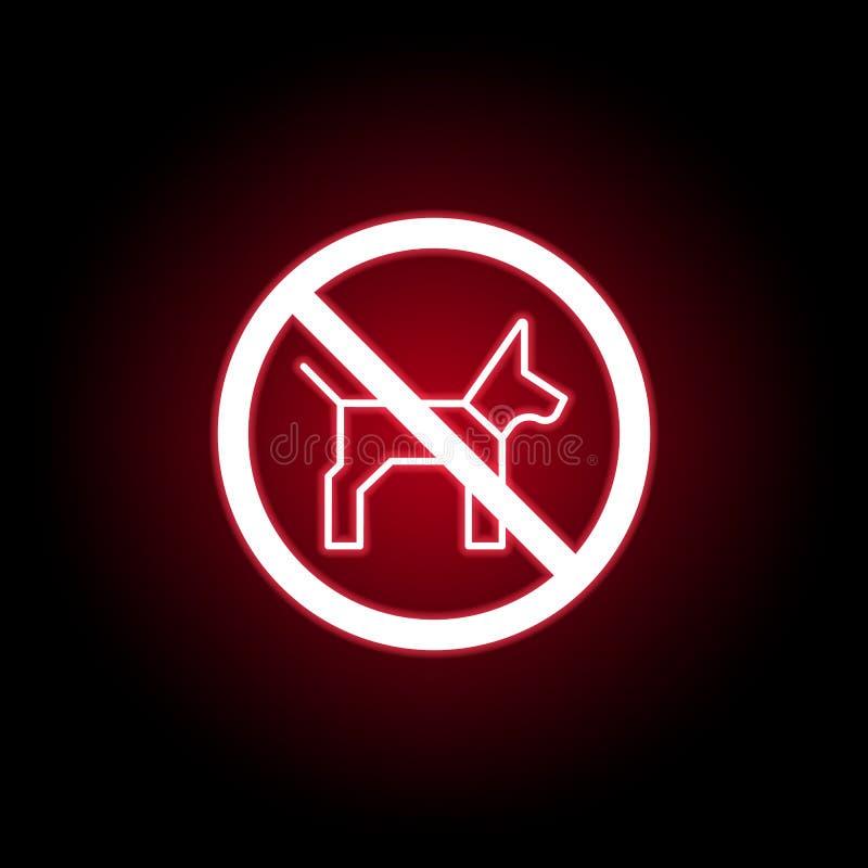 Ícone proibido do cão no estilo de néon vermelho Pode ser usado para a Web, logotipo, app m?vel, UI, UX ilustração stock