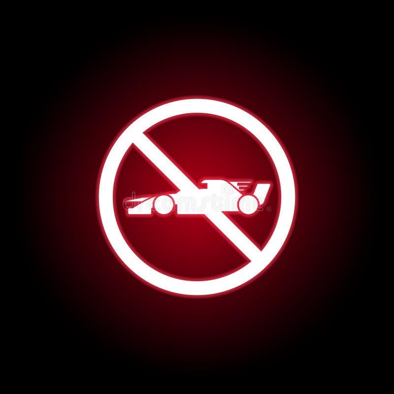 Ícone proibido do carro de fórmula no estilo de néon vermelho Pode ser usado para a Web, logotipo, app m?vel, UI, UX ilustração royalty free