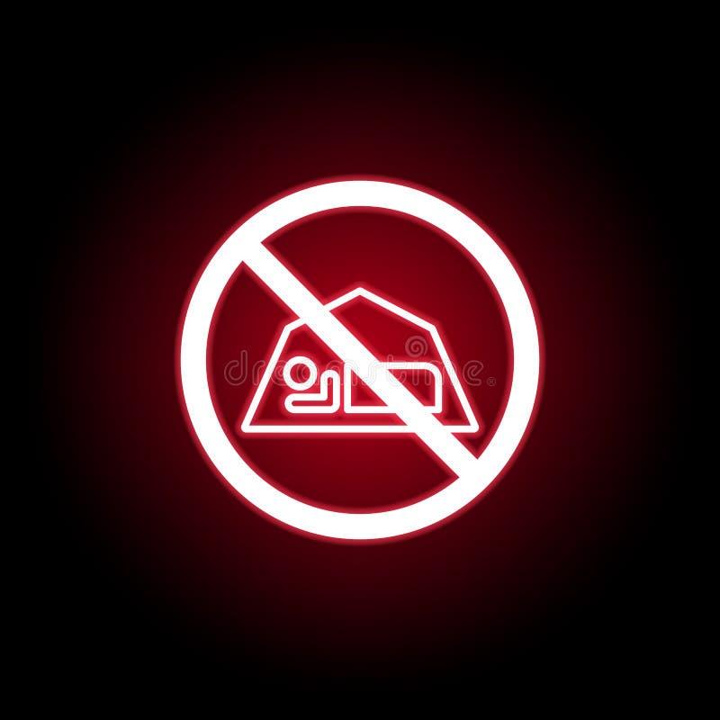 Ícone proibido do sono no estilo de néon vermelho Pode ser usado para a Web, logotipo, app m?vel, UI, UX ilustração royalty free