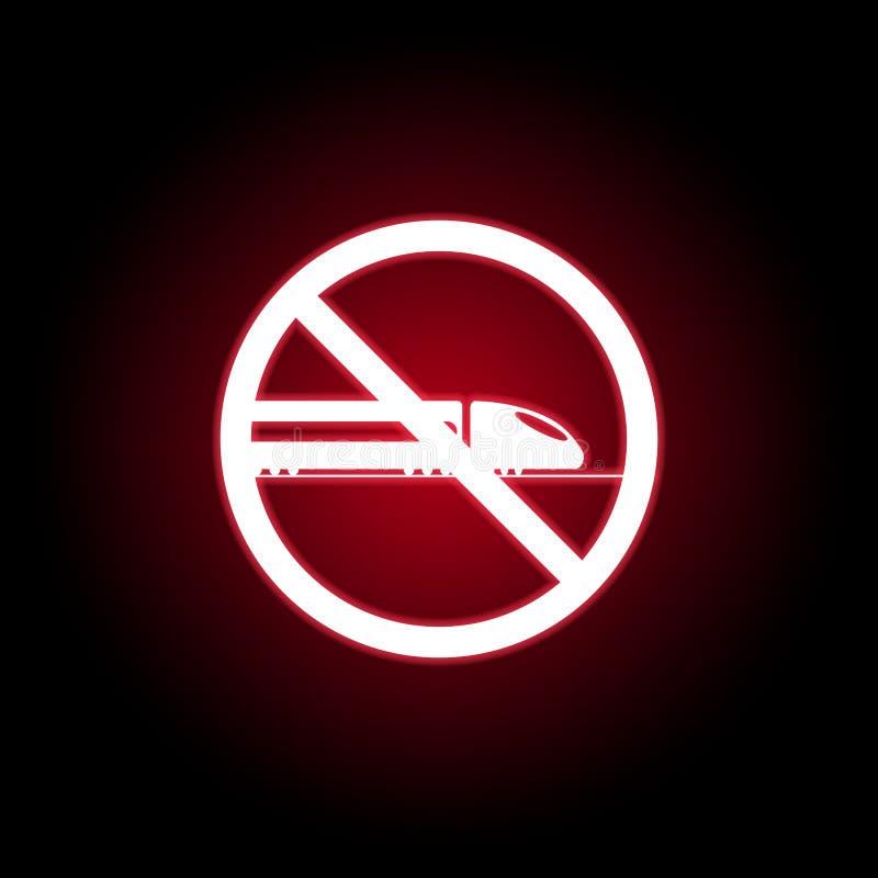 Ícone proibido do trem no estilo de néon vermelho Pode ser usado para a Web, logotipo, app m?vel, UI, UX ilustração royalty free