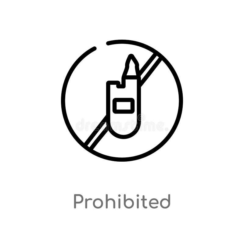 ícone proibido esboço do vetor linha simples preta isolada ilustração do elemento do conceito dos sinais Curso editável do vetor ilustração royalty free